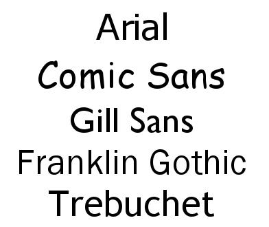 sen serif fonts